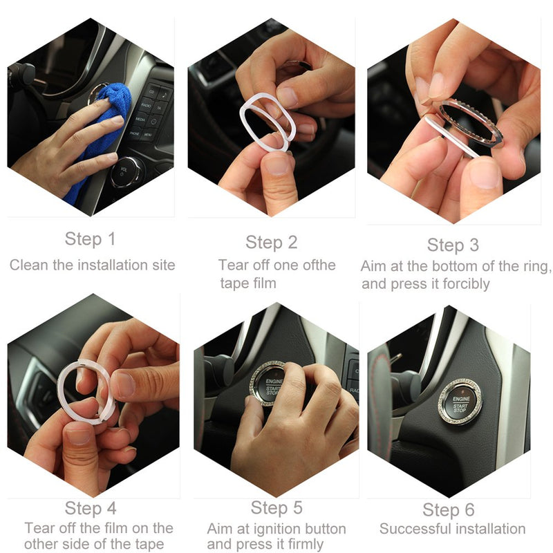 [AUSTRALIA] - Earthland Car Decor Crystal Rhinestone, Bling Silver tire Valve stem caps, Auto Engine Start Stop Decoration Crystal Interior Ring (2pcs rings-4pcs caps) 2pcs rings-4pcs caps
