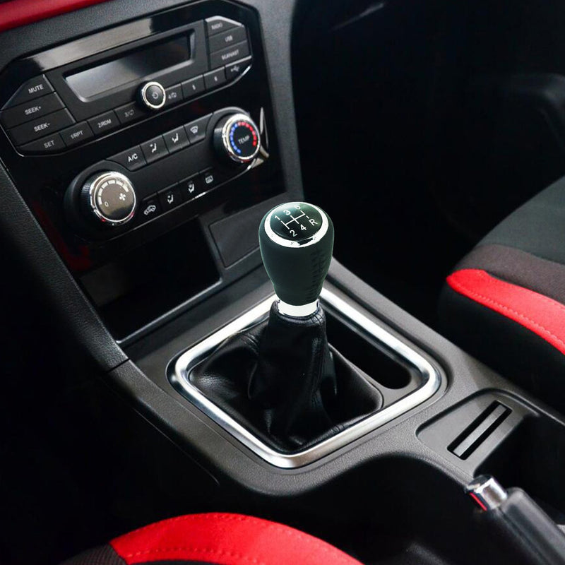 [AUSTRALIA] - Arenbel Shifter Knobs 5 Speed Leather Stick Shift Knobs Lever Gear Shifting Head fit Universal MT at Cars, Black