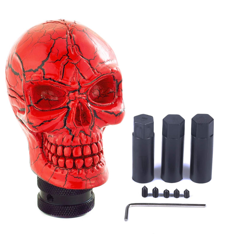 [AUSTRALIA] - Arenbel Skull Manual Gear Knob Pattern Style Stick Shift Knobs Lever Shifting Shifter Head fit Most Automatic Cars, Red
