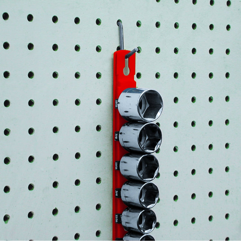 [AUSTRALIA] - Ernst Manufacturing 8411M-Red-3/8 8-Inch Magnetic Socket Organizer with 9 3/8-Inch Twist Lock Clips, Red