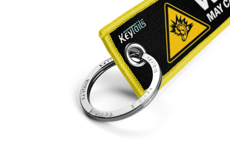 [AUSTRALIA] - KEYTAILS Keychains, Premium Quality Key Tag for Motorcycle, Car, Scooter, ATV, UTV [Warning May Cause Hearing Damage - Yellow]