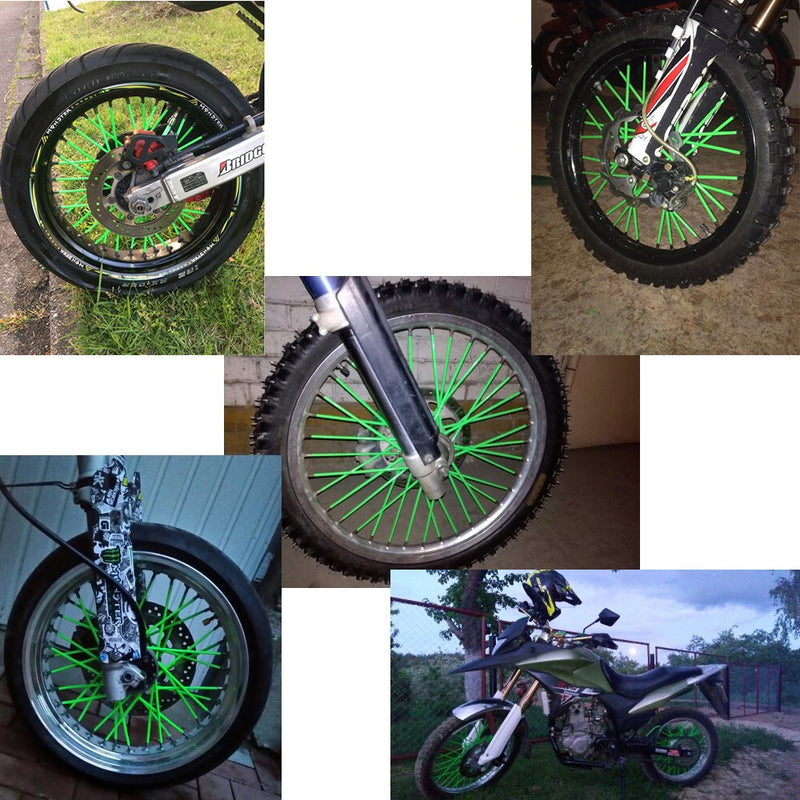 "[AUSTRALIA] - 72 Pcs Motorcycle Spoke Skins Covers Coats For 8""-21"" rims Kawasaki KX KL-XF KLR KL Honda CRF XL XLR XR KTM Yamaha XT250-600 WRF XC Kawasaki R-Z400S SM RM2 F750GS (Green) Spoke skins Green"
