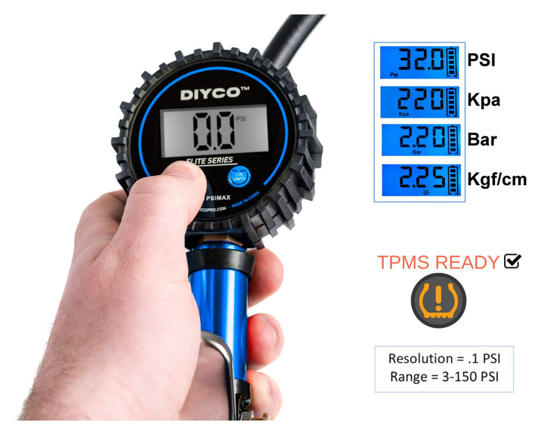 [AUSTRALIA] - DIYCO D3.4 Blue Tire Pressure Gauge and Tire Inflator Air Tool | 7-PCS Air Chuck Accessories Kit | Digital Elite Series