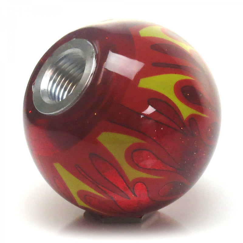 [AUSTRALIA] - American Shifter 297194 Shift Knob (Blue 6 Speed Shift Pattern - Dots 41 Red Flame Metal Flake with M16 x 1.5 Insert)