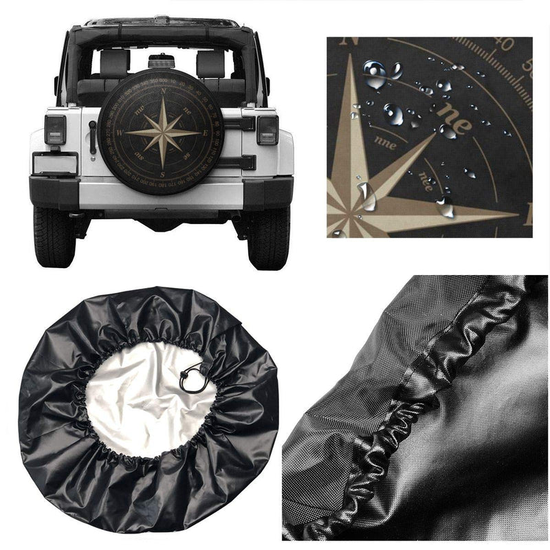 Compass Rose Black Spare Tire Cover UV Sun Wheel Covers Fit for Jeep,Trailer, RV, SUV and Many Vehicle 15 Inch - LeoForward Australia