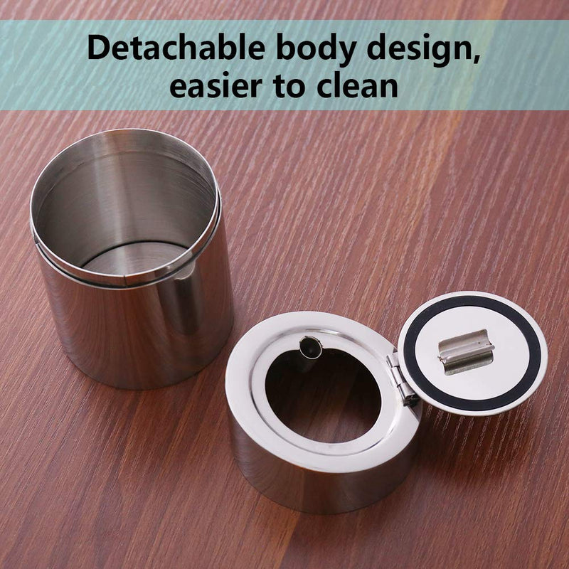 [AUSTRALIA] - Newness Car Ashtray, [Upgraded, Detachable Body, Sealing Lid], Stainless Steel Car Ashtray with Lid, Cigarette Ashtray for Car, Auto, Ash Holder for Smokers, Desktop Smoking Ash Tray for Home Office