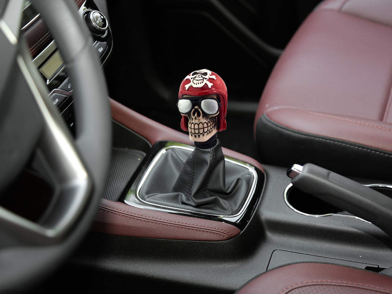 [AUSTRALIA] - Thruifo Skull Handle Shifter Knob, Pilot Style MT Car Gear Stick Shift Head Fit Most Manual Automatic Vehicles, Red
