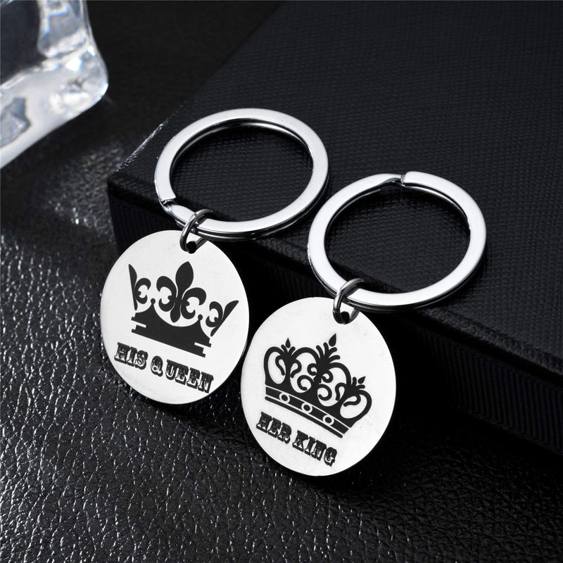 [AUSTRALIA] - Blerameng Couple Keychain Round Key Ring Her King His Queen Stainless Steel Jewelry