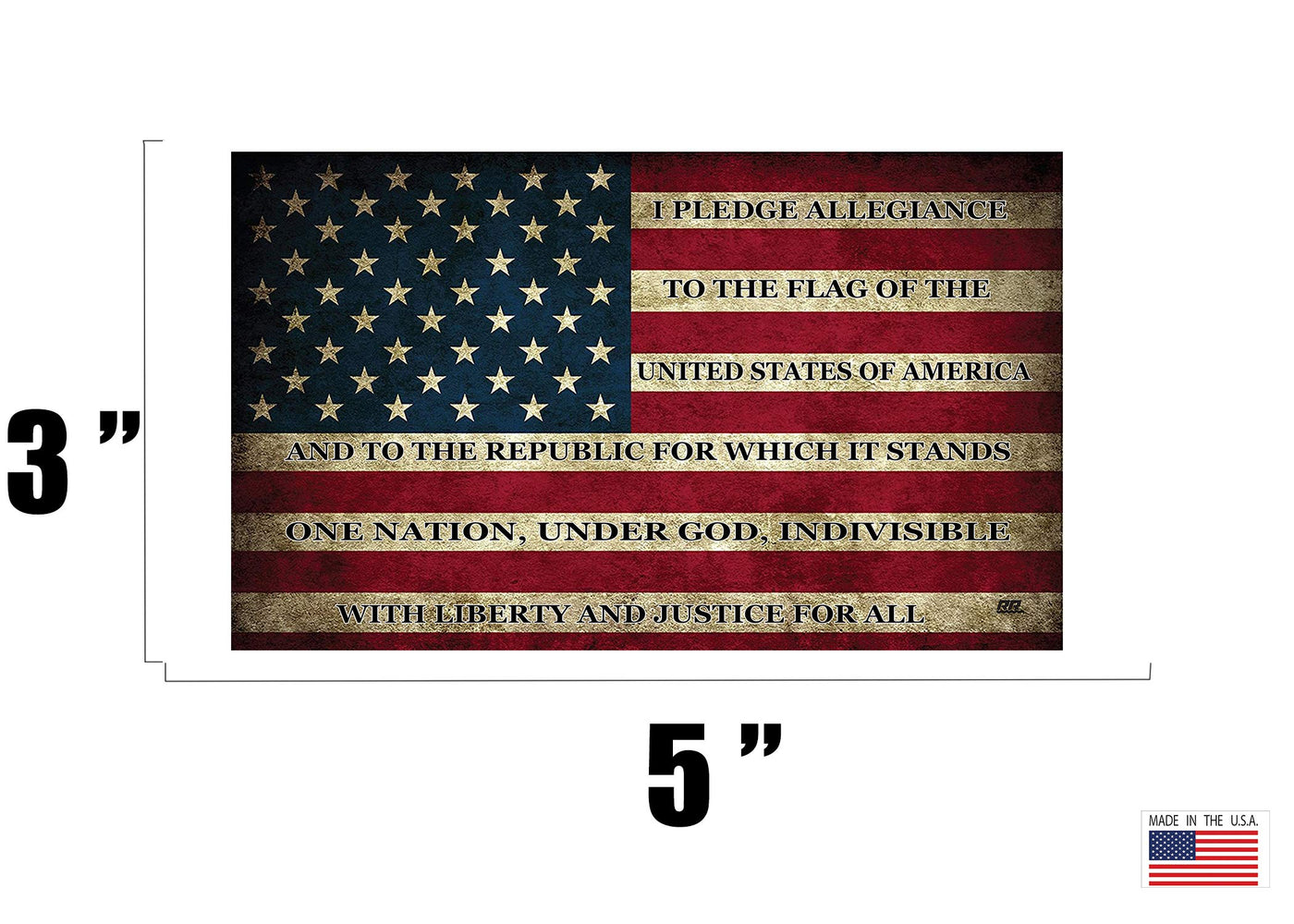 Rogue River Tactical USA Flag Sticker Bumper Car Decal Gift Patriotic American Worn United States Pledge of Allegiance 3x5 Inch