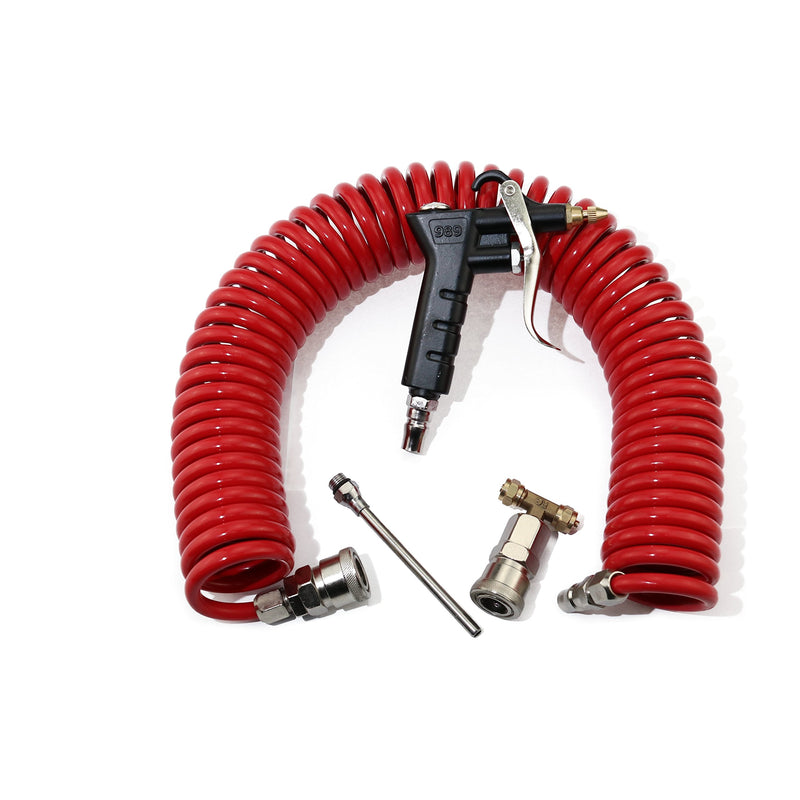 [AUSTRALIA] - Boeray Heavy Duty Truck Air Duster Blow Gun Cleaning with 9 Meter Long Coil and 2 interchangeable nozzle tips- Red Air Seat Blow Gun Kit