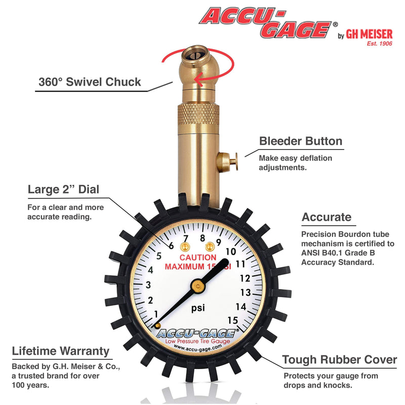 [AUSTRALIA] - Accu-Gage Low Pressure Tire Gauge with Protective Rubber Guard, Angled Chuck, 15psi 15 PSI