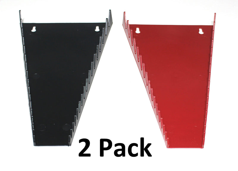 [AUSTRALIA] - JSP Manufacturing Red & Black 16 Tool Standard Wrench Holder Wrench Organizer 2 Pack | Storage Rack Tray Tool Holder