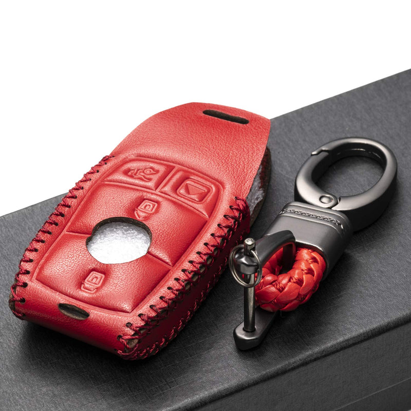 [AUSTRALIA] - Vitodeco Genuine Leather Smart Key Fob Case Cover Protector with Leather Key Chain for 2017-2020 Mercedes-Benz E-Class, 2018-2020 Mercedes-Benz S-Class (4-Button, Red) 4-Button