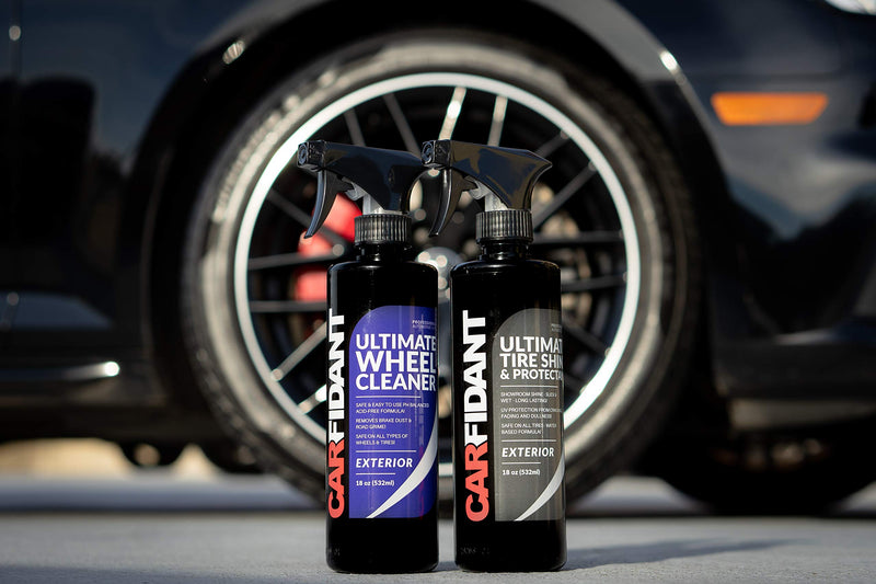 Carfidant Ultimate Tire Shine Spray - Tire Dressing & Protectant Kit - Dark, Wet Looking Wheels with No Grease and No Sling! Use with Wheel & Tire Cleaner 18oz - LeoForward Australia