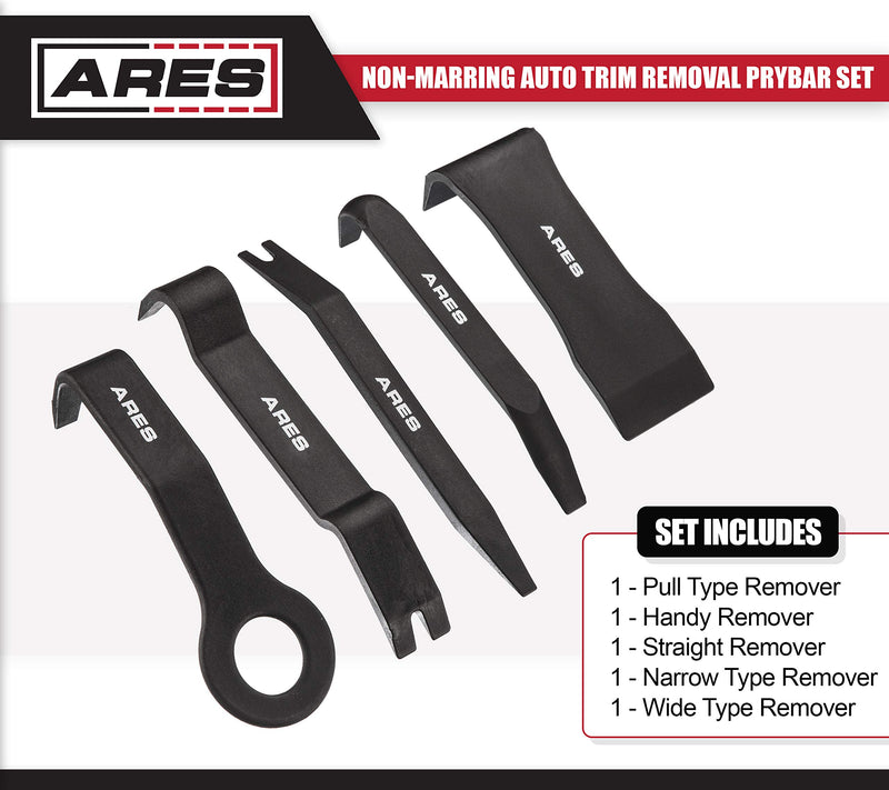 [AUSTRALIA] - ARES 70223-5-Piece Non-Marring Auto Trim Removal Prybar Set - Remove Trim with Ease - Fasteners, Molding, and Dash Panel Removal Set Non-Marring Prybar Set