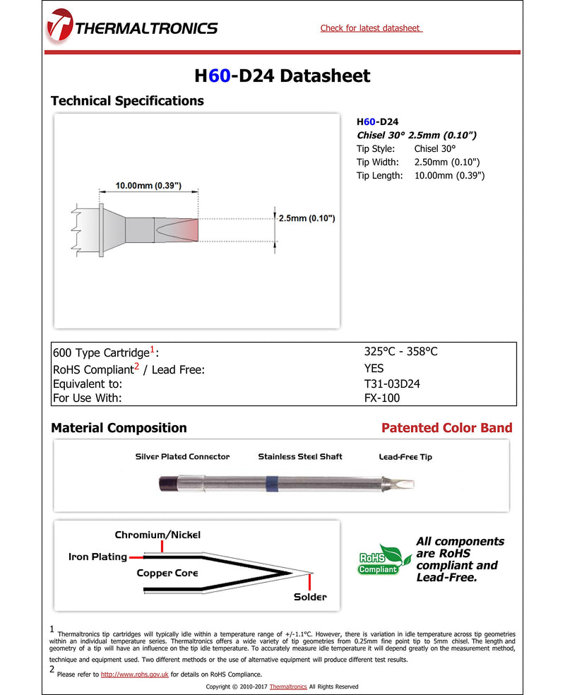 [AUSTRALIA] - Thermaltronics H60-D24 Chisel 30deg 2.5mm (0.10in) interchangeable for Hakko T31-03D24