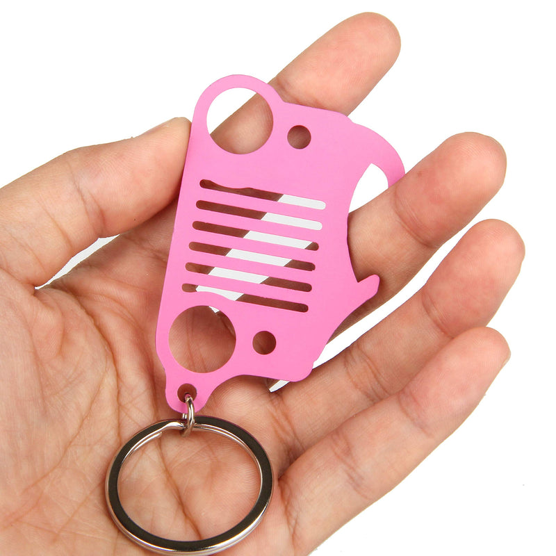 [AUSTRALIA] - EVAPLUS Car Key Chain Key Ring with Bottle Opener for Jeep Wrangler Accessories Enthusiasts-Jeep Front Grille Design and Stainless Steel Material Pink Pink 1