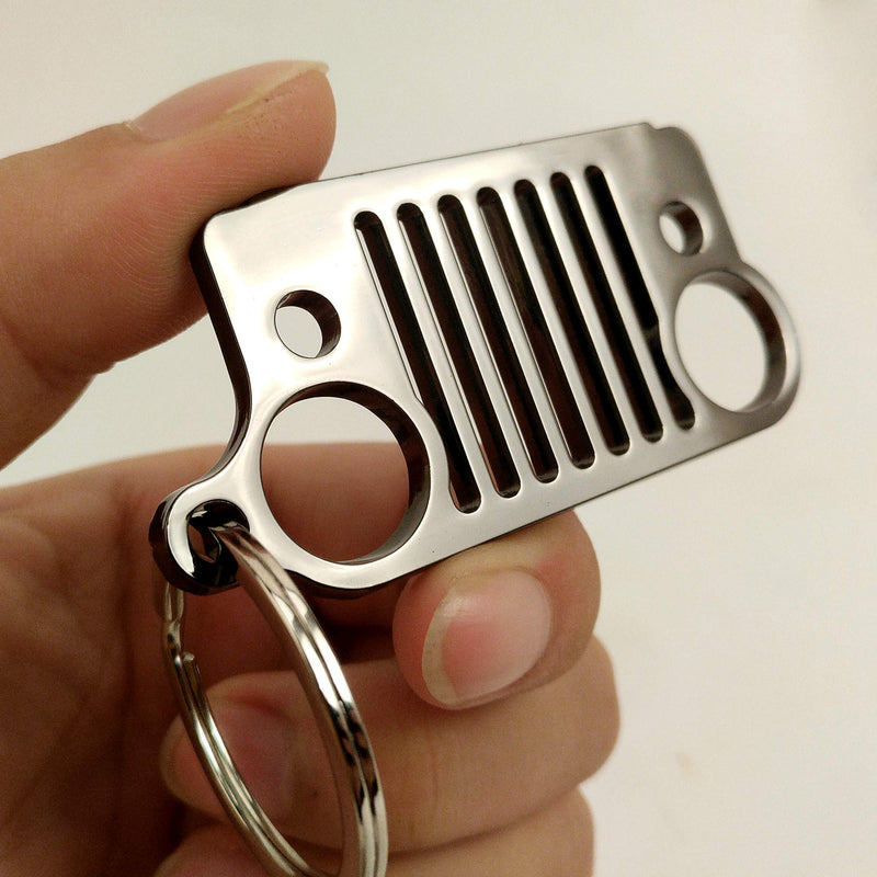 [AUSTRALIA] - HUSUKU Grill 3D Plating Black Metal Key Chain 304 Stainless Steel Keychain for Jeep Wrangler Enthusiasts Car Gift (16 Styles Optional)