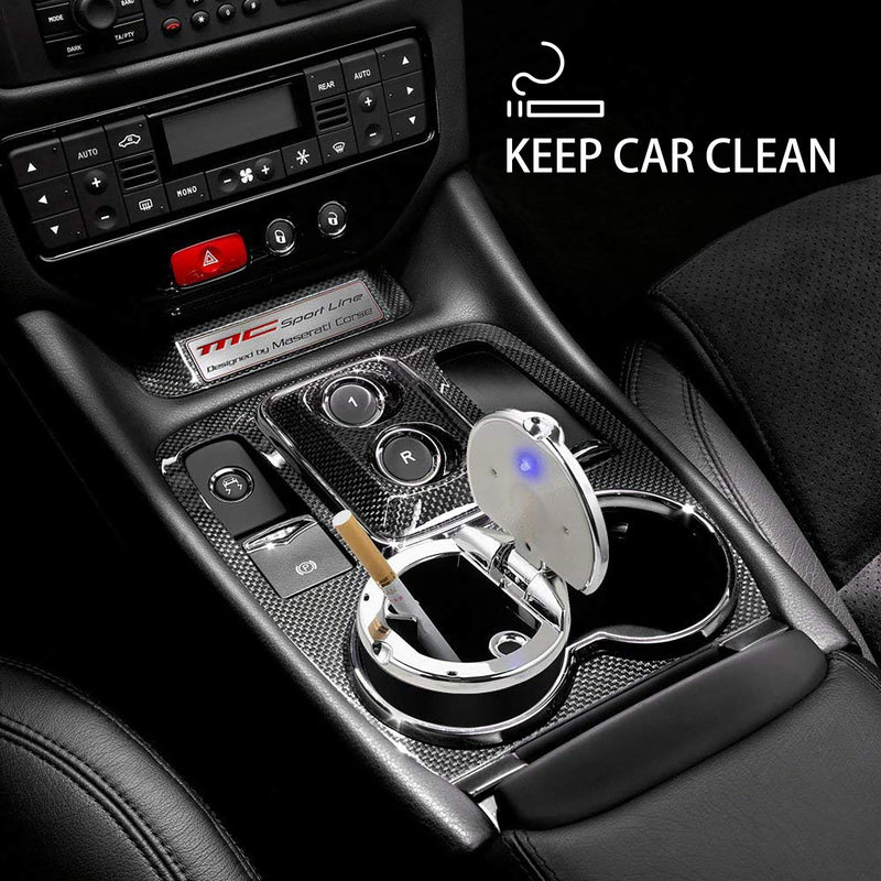 [AUSTRALIA] - IUKUS Car Cigarette Ashtray, Stainless Auto Car Cigarette Ashtray with Lid and Blue LED Light Indicator Smokeless Vehicle Cigarette Ashtray Ash for Car Cup Holder,Home, Office