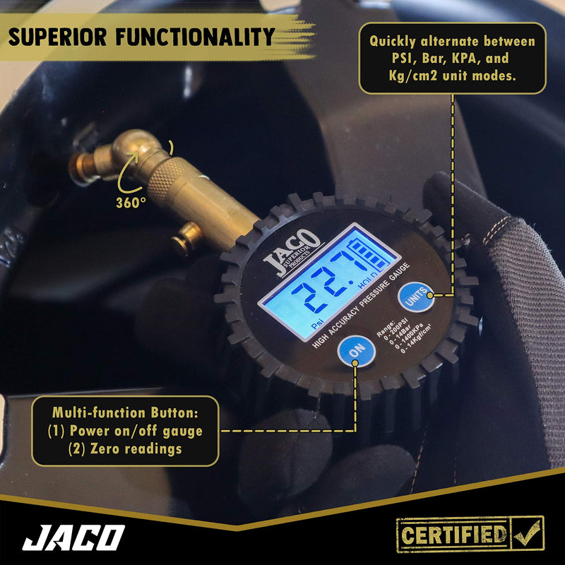 JACO Elite Digital Tire Pressure Gauge - Professional Accuracy - 100 PSI - LeoForward Australia