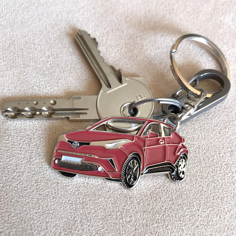 [AUSTRALIA] - 3dcrafter C-HR Key Chain for car Accessories. Chrome Metal tag, Enamel. Replica. (red) Red