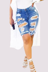 High Waist Midi Frayed Shorts