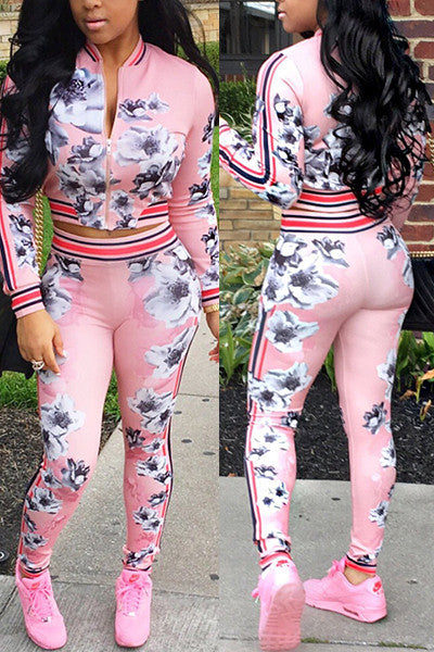 90s Floral Jacket Pants 2 Piece Set