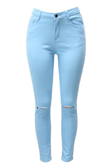 High Waist Slit Knee Jeans