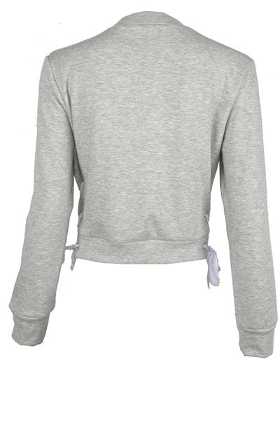 Lace Up Crewneck Sweat Top