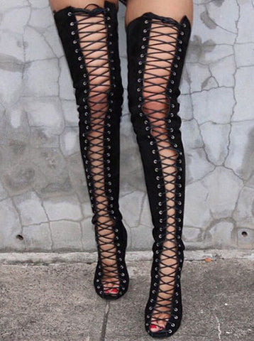 Peep Toe Lace Up Knee High Heels