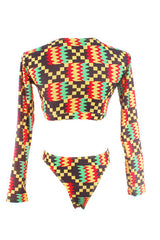 Nia Long Sleeve Ankara Bikini