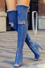 Relly Ripped Denim Boots