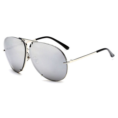 Silver Clear Aviator Sunglasses