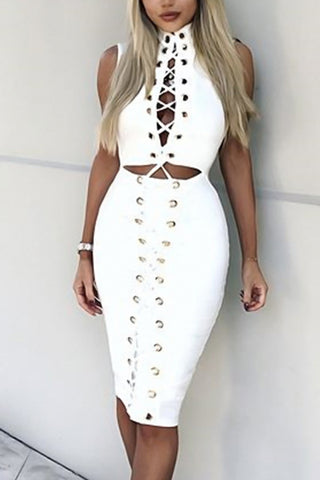 Lace Up Hollow Waist Dress