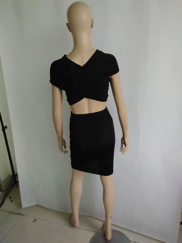 Bandage Crop Top Skirt Twinset
