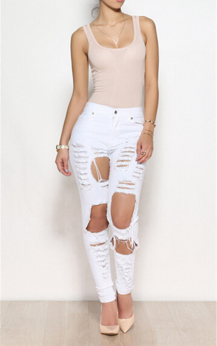 Pencil Ripped Jeans