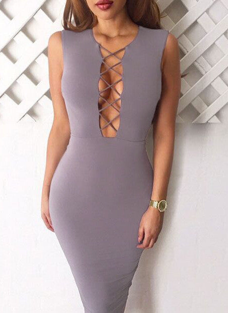 Sleeveless Lattice Bodycon Dress