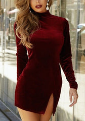 Reddie Slit Velvet Mini Dress