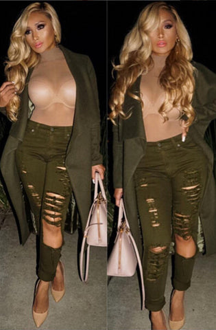 Olive Ripped Front Jeans