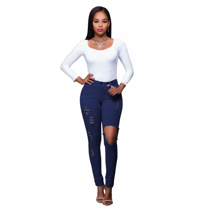 Helen High Waist Destroyed Jeans