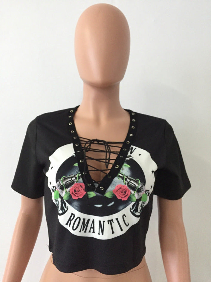 Lace Up Distressed Rose Tee