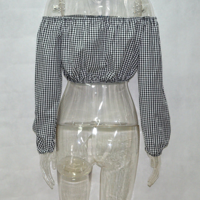 Gingham Off Shoulder Button Blouse