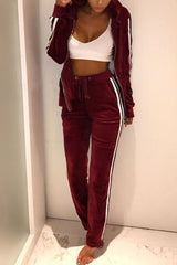 Val Velvet Stripe Jacket Pants Set