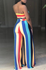 Bossy Stripe Wide Pants Set