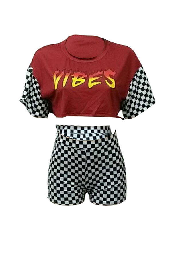 Check Vibes Top Shorts Set