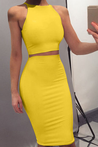 Canary Halter Bodycon Set