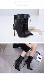 Sharp Lace Up Boots