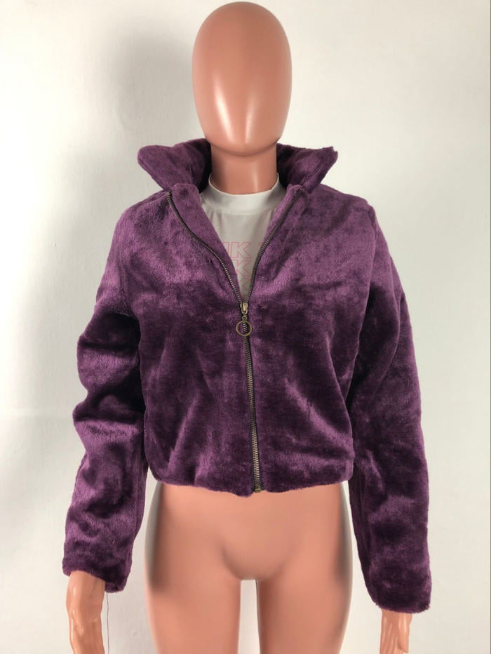 Purpled Faux Fur Coat
