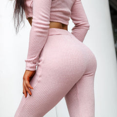 Pinkie Cropped Sweater Lounge Set