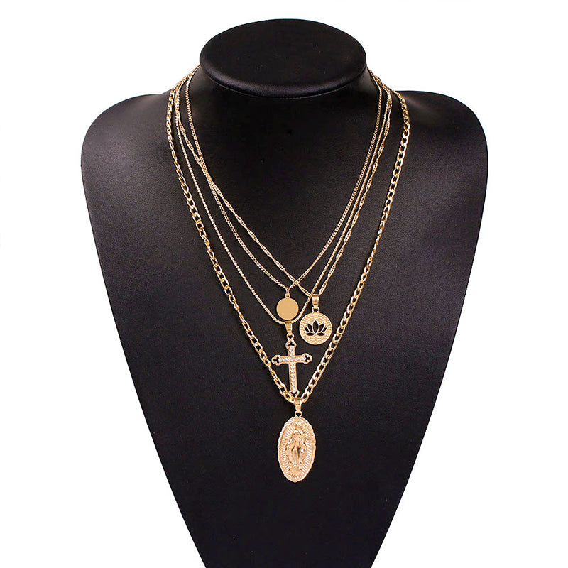 Multi Pendant Charm  Necklace